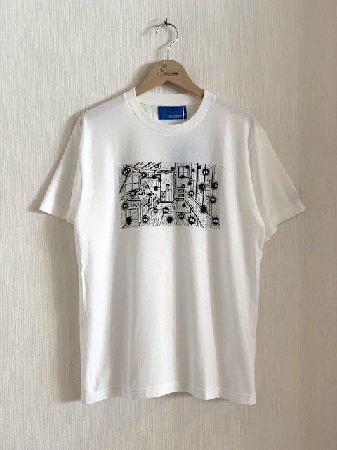くろすけスタンプTシャツ/土間 (ホワイト・大人)