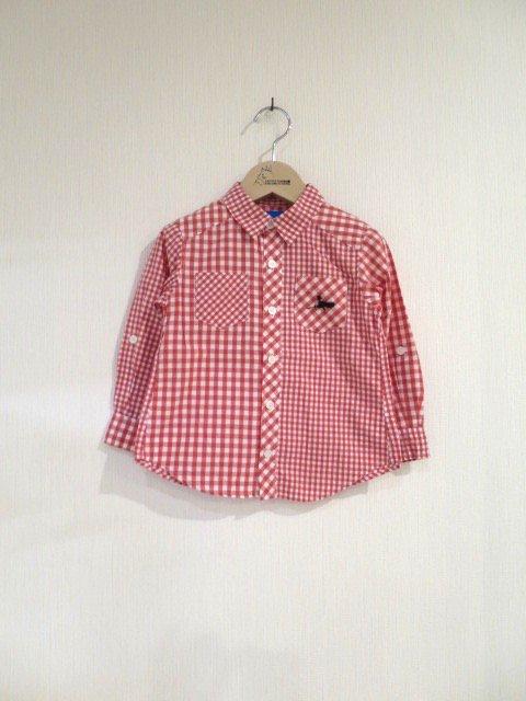 キキ手刺繍チェックシャツ (1点もの/サイズ90)