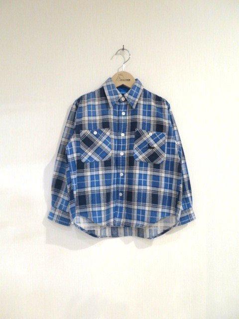 キキ手刺繍チェックシャツ (1点もの)