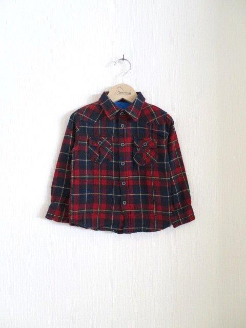 ジジ手刺繍チェックシャツ (1点もの/サイズ80)