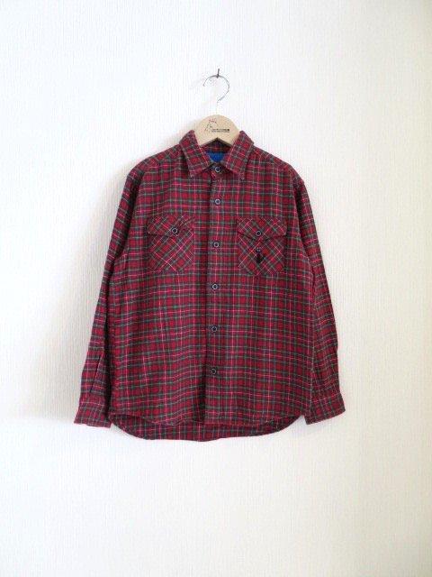 ジジ手刺繍チェックシャツ (1点もの/サイズ140)