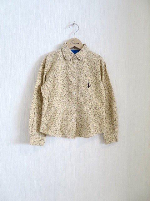 ジジ手刺繍花柄シャツ (1点もの/サイズ130)