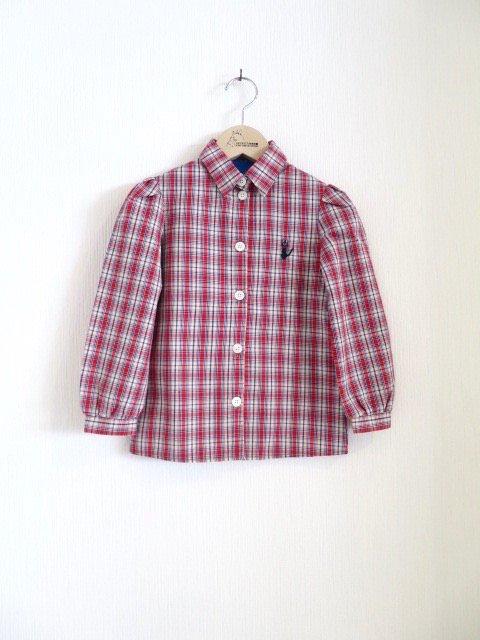 ジジ手刺繍チェックシャツ (1点もの/サイズ100)