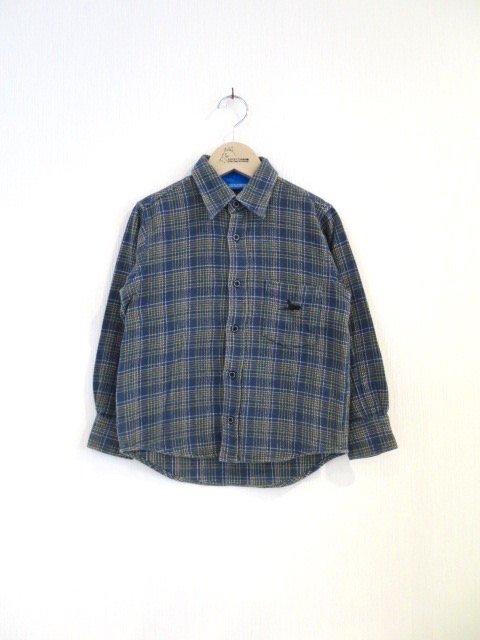 キキ手刺繍チェックシャツ (1点もの/サイズ130)
