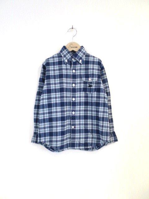 キキ手刺繍チェックシャツ (1点もの/サイズ140)