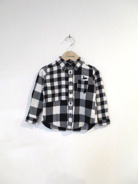 キキ手刺繍チェックシャツ (1点もの/サイズ80)