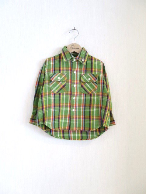 トトロ手刺繍チェックシャツ (1点もの)