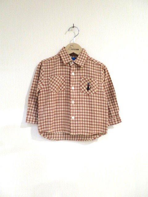 ジジ手刺繍チェックシャツ (1点もの/サイズ90)