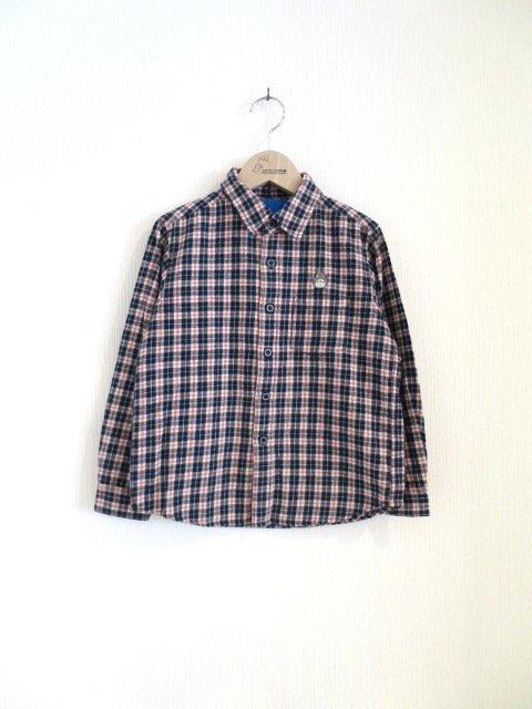 トトロ手刺繍チェックシャツ (1点もの/サイズ130)