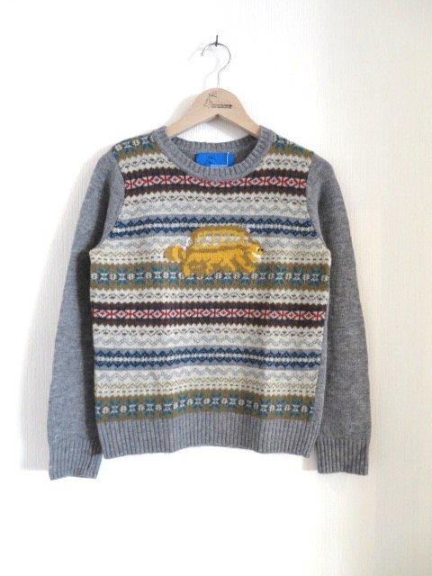 ネコバス手編み縫いニット (1点もの/大人)