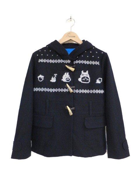 雪柄トトロ手編み縫いコート (1点もの/サイズ大人)