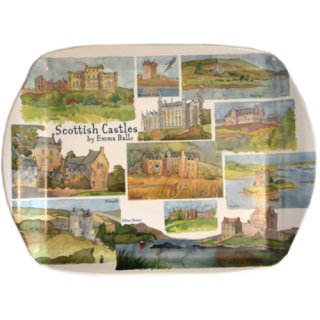 <br>Emma Ball 【EBMMD52】<br>Medium Tray トレイ<br>Scotish Castles