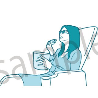 3D映画を見る女性 (映画館、ポップコーン、休日、趣味、3D)