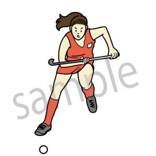 女子ホッケー選手 イラスト(スポーツ、オリンピック)