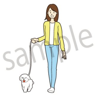 犬の散歩をする女性 イラスト(ペット、散歩、休日)