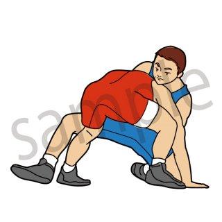 レスリング イラスト(スポーツ、オリンピック)