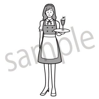 メイド喫茶 店員 イラスト(メイド、カフェ、喫茶店、レストラン、店員)