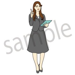 解説する女性 イラスト(ビジネスウーマン、アナウンサー、お天気お姉さん、説明)