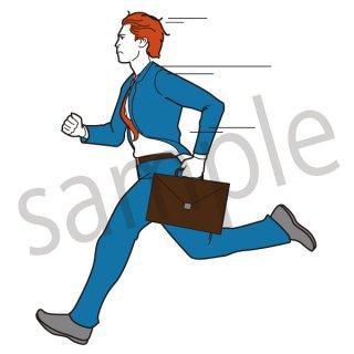 走るビジネスマン イラスト(サラリーマン、遅刻、急ぐ、大急ぎ、ダッシュ)