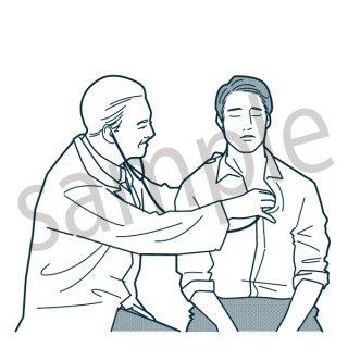 診察 イラスト(健康診断、病院、医者、検診、風邪)