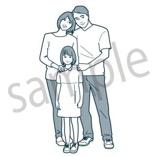 3人家族 イラスト (親子、家族、夫婦、娘、子供)