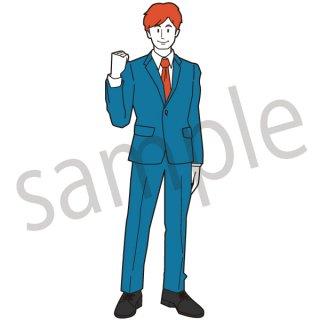 フレッシュマン イラスト(新入社員、若手、サラリーマン、会社員、営業、ビジネスマン、ジェスチャー)