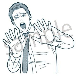 驚くサラリーマン イラスト(のけぞる、びっくりする、ビックリ新入社員、若手、サラリーマン、会社員、営業、ビジネスマン、ジェスチャー)