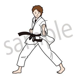 空手 女子 イラスト(武道、スポーツ)