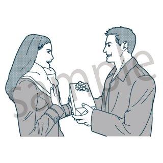 プレゼントを渡すカップル イラスト(女性、男性、夫婦、セール、量販店、初売り、ショッピング、買い物)