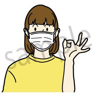 マスクをつけている人 女性(マスク、風邪、)