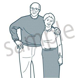 老夫婦 イラスト(家族、カップル、夫婦、恋愛、結婚)