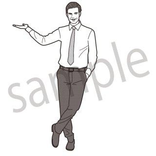 何かを紹介するビジネスマン イラスト(ビジネス、スーツ)