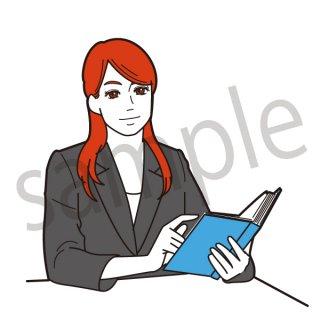 本を読む女性 イラスト(ビジネス、スーツ指、指を差す)
