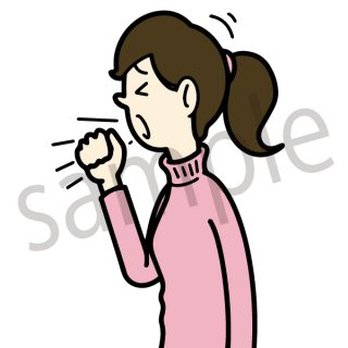 咳をする女性 イラスト(せき、風邪、病気、健康)