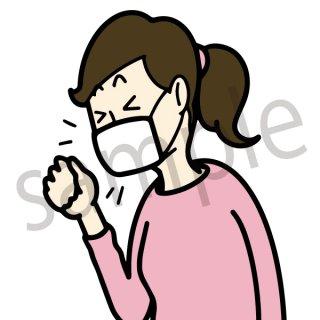 マスクをして咳をする女性 イラスト(マスク、せき、風邪、病気、健康)