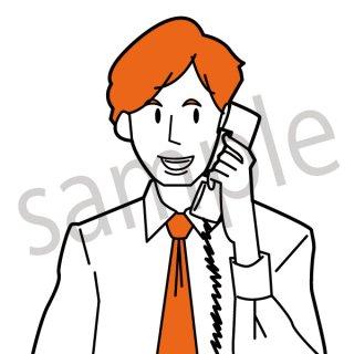 電話をかけるビジネスマン イラスト(男性、サポートセンター、会社員、営業、ビジネスマン、ジェスチャー)
