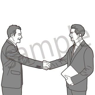 握手するビジネスマン イラスト(ビジネスシーン、スーツ、サラリーマン、ビジネスマン)