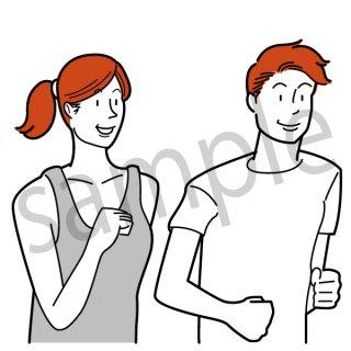 ランニング イラスト (ジョギング、スポーツ、散歩、健康)