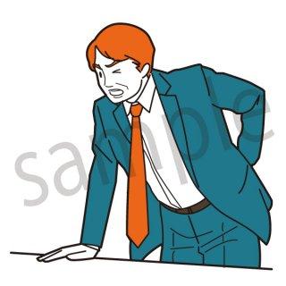 腰痛 ビジネスマン イラスト(ビジネス、会社員、サラリーマン、仕事、不健康、腰、怪我、ぎっくり腰)
