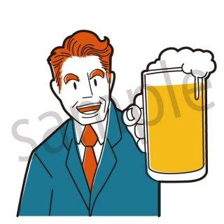 ビールを持つサラリーマン イラスト(乾杯、打ち上げ、飲み会、サラリーマン、会社員、営業、ビジネスマン、居酒屋、ジョッキ、生中、中生、飲み会)