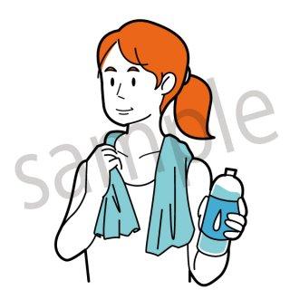 運動後の女性 イラスト(ランニング、クールダウン、水を飲む、トレーニング、ウォーキング、休憩、休息)