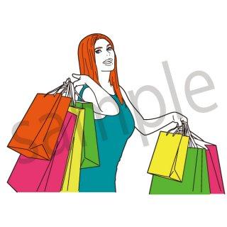 バーゲン イラスト(女性、セール、量販店、初売り、ショッピング、買い物)