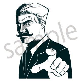 指を差すビジネスマン イラスト(キメ顔、決め台詞、劇画、サラリーマン、会社員、営業、ビジネスマン、ジェスチャー)