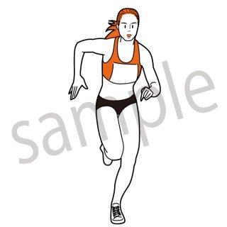 女子陸上選手 イラスト(短距離走,長距離走,リレー,オリンピック)