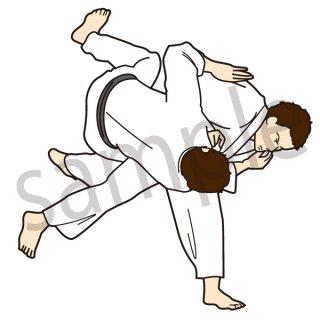 柔道 イラスト(武術、オリンピック、投げ技)