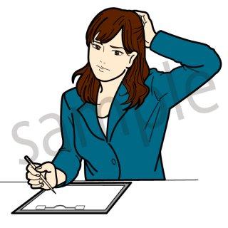 悩む ビジネスウーマン イラスト(ビジネス、会社員、頭痛、仕事、不健康、悩む、悩み、痛い)