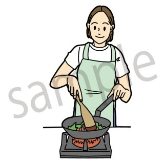 料理をする女性 イラスト(フライパンを持つ女性、趣味、朝食、夕食)