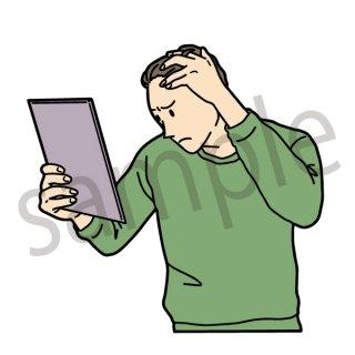 薄毛を気にする男性 イラスト(薄毛、抜け毛、ヘルスケア、若はげ、ハゲる、悩む)