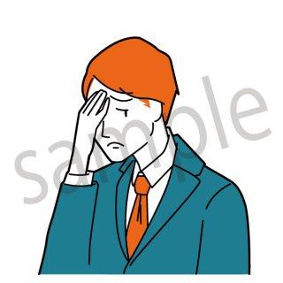 頭痛 ビジネスマン イラスト(ビジネス、会社員、サラリーマン、仕事、不健康、悩む、悩み、痛い)