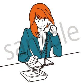 仕事をする女性(仕事,PC,ビジネス、デスクワーク、サポートセンター、電話)